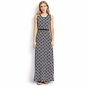 Lands End Geo Knit Black White Maxi Dress